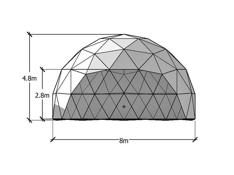 8m ジオデシックドームテント