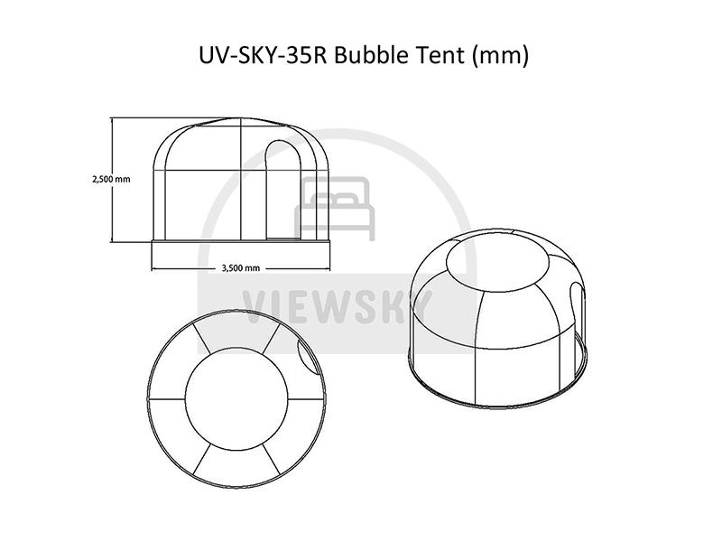 3.5メートルのバブルテントの図面